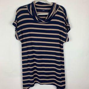 Soft surroundings striped blue tan cowl neck tunic